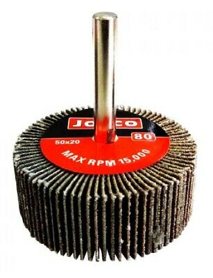 Josco MOUNTED FLAP WHEEL 50x20mm, 6mm Cylindrical Shank- 80-Grit Or 120-Grit
