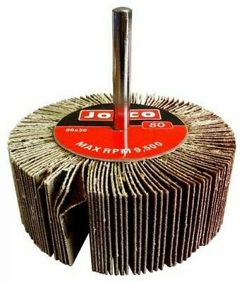 Josco MOUNTED FLAP WHEEL 80x30mm, 6mm Cylindrical Shank- 80-Grit Or 120-Grit