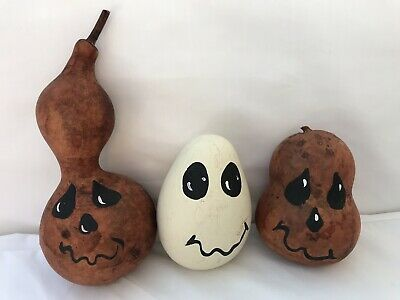 3 Halloween Gourds With Happy Faces Handpainted Signed By Artist 1998