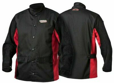 Lincoln SHADOW BLACK LEATHER SLEEVED WELDING JACKET Size-XL Flame Retardant