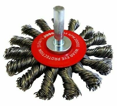 Josco MOUNTED TWIST KNOT WIRE WHEEL BRUSH JSTW75 75mm XHD Steel, 6.3mm Shank