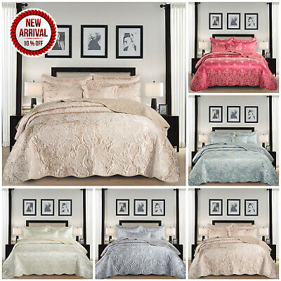 Luxury 3 Piece Satin Jacquard Quilted Bedspread Double & King Floral Bed Throw
