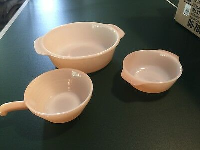 FIRE-KING Bee Hive  PEACH LUSTER LUSTRE  Handled Bowl Soup &  2 Casserole Dishes