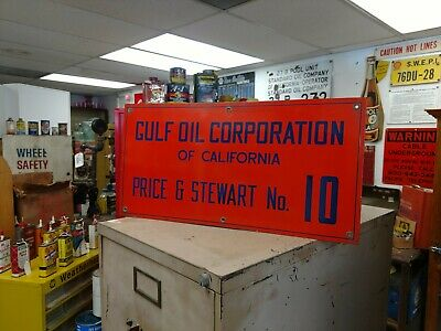 Nice Porcelain Gulf Oil Corporation Oil Well Lease Sign