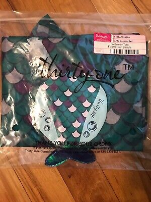 Thirty-One Thirty One 31 Gifts Foldaway Tote - BRAND NEW RETIRED - Mermaid Tail