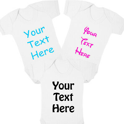 Personalised Your Text Here Baby Vest Gift Funny Baby Grow Christening Bodysuit