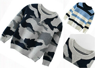 Boys Sweater Jumper School Sweatshirt Top Knitted Long sleeve Age 2-8 years
