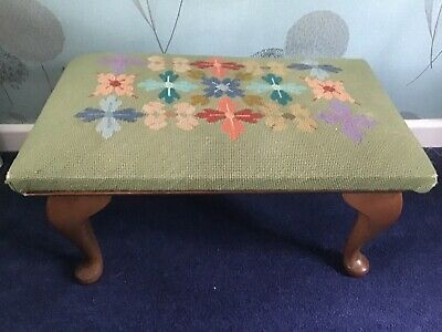Vintage Footstool Gout FootStool Embroidered Top Restoration Project
