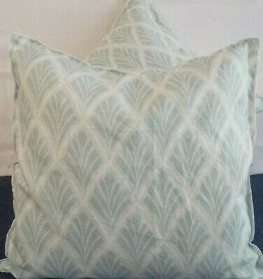 £12.99 For A Pair Of 24 Inch Extra Large Giant Cushions Soft Aqua On Ivory