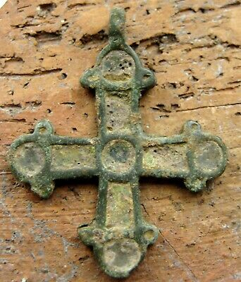 Ancient Viking Bronze Enamel Cross Pendant 8-10th Century AD.