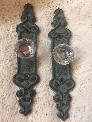 2 Long Crystal style GLASS cabinet drawer pulls knobs handles with Cast Iron