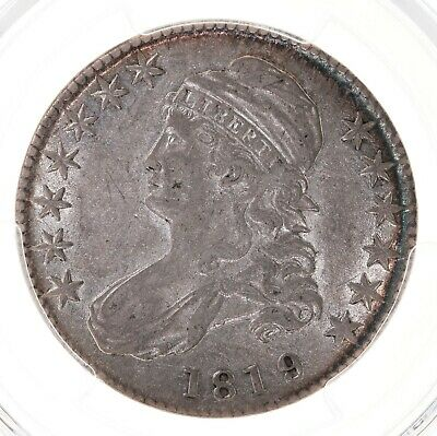 1819/8 Capped Bust 50C PCGS Certified AU50 Overton 102 Large 9 US Silver Coin