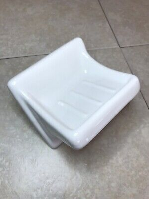 Gloss White Vintage Ceramic Soap Dish Tray Holder Retro Square  Wall  Mount