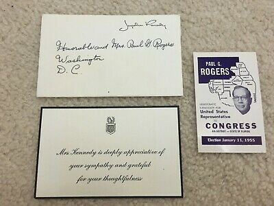 President Kennedy thank you card to Congressman from  First Lady Jackie Kennedy