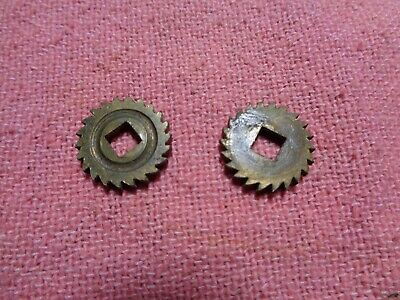 Antique French Clock Part. Drum Wind Ratchet Wheels and Retainers