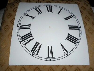 "Square Paper (Card) Clock Dial - 9"" M/T - Roman - MATT WHITE- Parts/Spares"