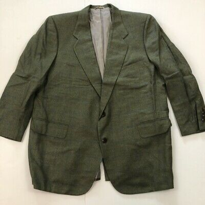 Tom James Men's Hand Tailored Royal Classic Olive Green Stripes Suit Jacket 46R