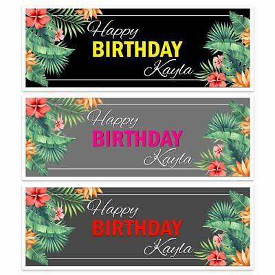 X 2 Personalised Happy Birthday Name Floral Banners Party Ladies Womens Girls