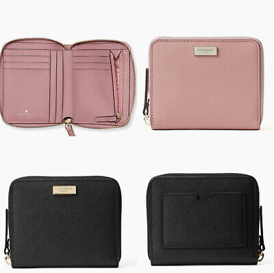 Kate Spade Laurel Way Darci Wallet Zip Around Wallet Dusty Peony Pink Black