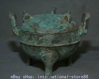 """5.6"""" Antique China Bronze Ware Dynasty Palace 3 Foot Lid Incense Burners Censer"""