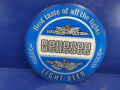 "Genesee Light Beer Sign 15"", Made in USA brew bar lite picture vintage plastic"