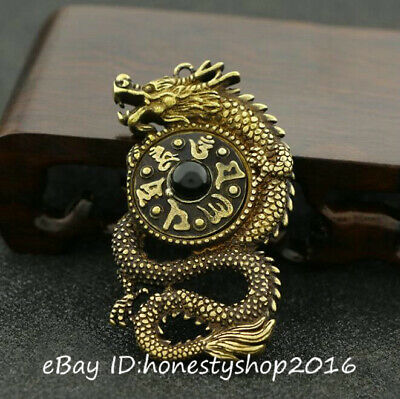 Old China Bronze Copper Carving Buddhism Fengshui Dragon Pendant Amulet Necklace