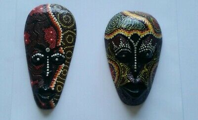 Two (2) Wooden tribal masks - aboriginal dot painting - 20 and 21cm