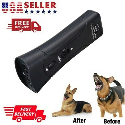 Anti Dog Barking Pet Trainer LED Light Ultrasonic Chaser Petgentle Tool US FAST