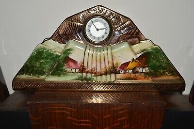 Art Deco Hand painted clock with garnitures by Hubert Bequet- Made in Belgium