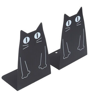 1 Pair Metal Bookends Cat Shape Cartoon Heavy Duty Metal Book Ends for CDs Files