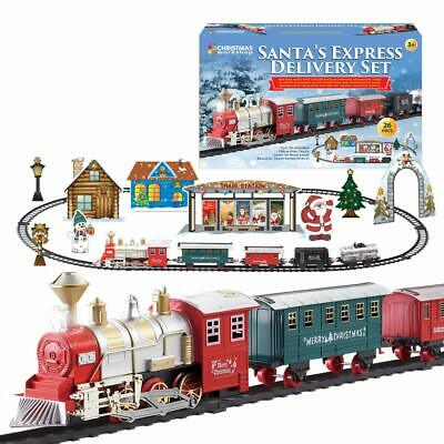 Deluxe Santa Express Battery Traditional Steam Christmas Tree Train Track Set