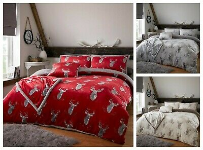 Teddy Bear Fleece Stag Duvet Cover Set OR Throw Printed Cozy Warm Winter Bedding