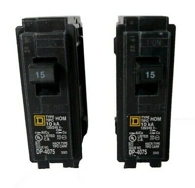 Lot of 2-15 Amp Square D HOM115 1 Pole 15A Type HOM 240V Circuit Breakers