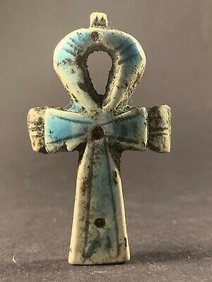 Beautiful Ancient Egyptian Faience Key Of Life W/ High Detailing Circa 770-330Bc