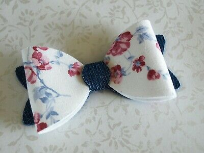 SALE - Girls White Blue Flower Print Hair Clip - Denim Bow HANDMADE Hair Bow