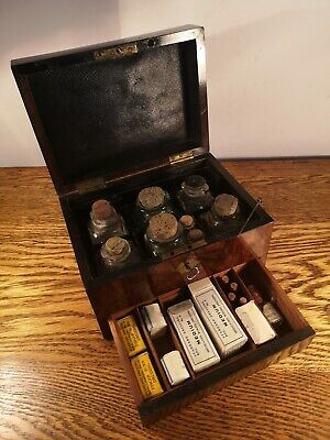SUPERB COLLECTIBLE EARLY VICTORIAN BURR WALNUT APOTHECARY BOX & CONTENTS c.1865