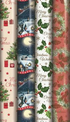 4 x 8M ROLLS TRADITIONAL CHRISTMAS PARCEL GIFT WRAP WRAPPING PAPER IVY WREATH