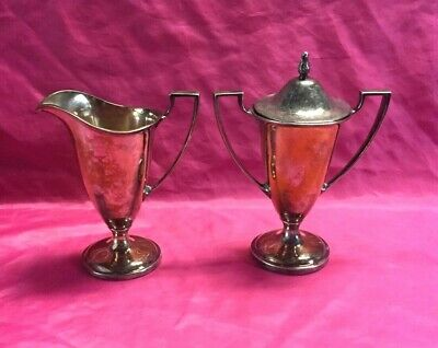 "Vintage FORBES Quadruple Silverplate SUGAR BOWL & CREAMER 6""Pattern Set - Nice!"