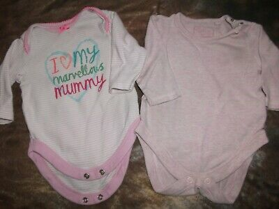 Next Baby Girls 2 x Long Sleeved Vests - Age 0-3 Months