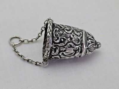 Antique Silver Chatelaine Thimble Holder 1888 E.F. Braham (618-9-YWG)