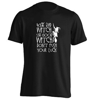 49% bad witch, t-shirt Halloween trick or treat broomstick cauldron spell 6297