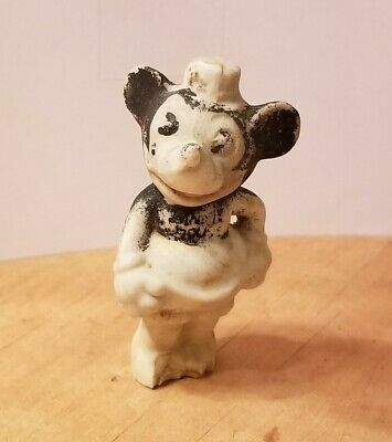 Rare 1930s Early Walt Disney Mickey Mouse Bisque Figurine Toy (Antique/Vintage)