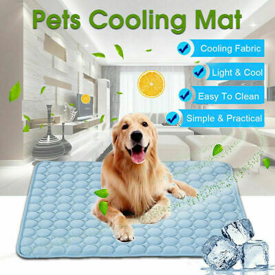Dog Cooling Mat Pet Cat Chilly Non-Toxic Summer Cool New Bed Indoor Pad Cus H2K2