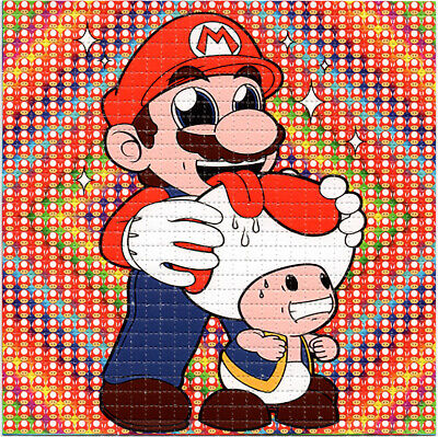 Toad Licking Mario BLOTTER ART perforated sheet paper psychedelic art