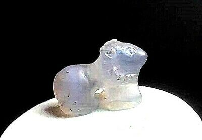 neat original antique crystal carved military ram long horn carved bead pandant
