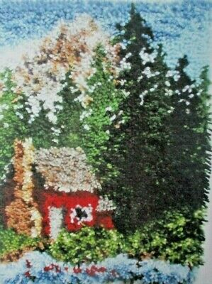 """Latch Hook Rug Kit """" COZY CABIN """" Scenic rug by Caron  Free UK postage"""