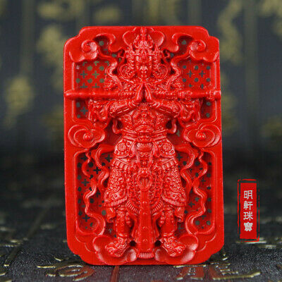 Natural Red Cinnabar Carving Lacquer Chinese WeiTuo fo Buddha Pendant Necklace