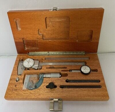 Mitutoyo Student Machinist Tool Kit In Mahogany Wood Case Used