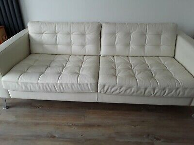 Strange Ikea Landskrona White Leather 3 Seat Sofa With Matching Gmtry Best Dining Table And Chair Ideas Images Gmtryco