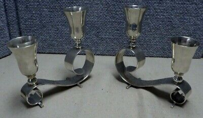 Pair Juvento Lopez Reyes Mexican Sterling Silver Candlesticks Mid Century Modern